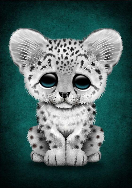 Cute cub on teal. Baby clipart snow leopard
