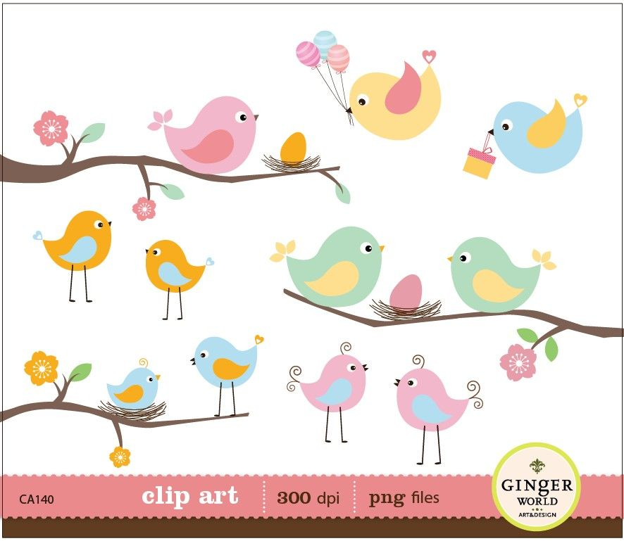 Baby clipart spring. Birds eggs nest digital