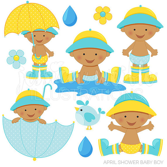 April shower boy dark. Baby clipart spring