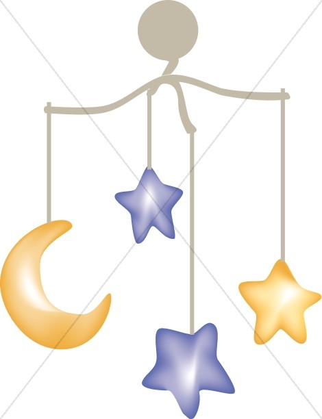 Moon and stars mobile. Baby clipart star
