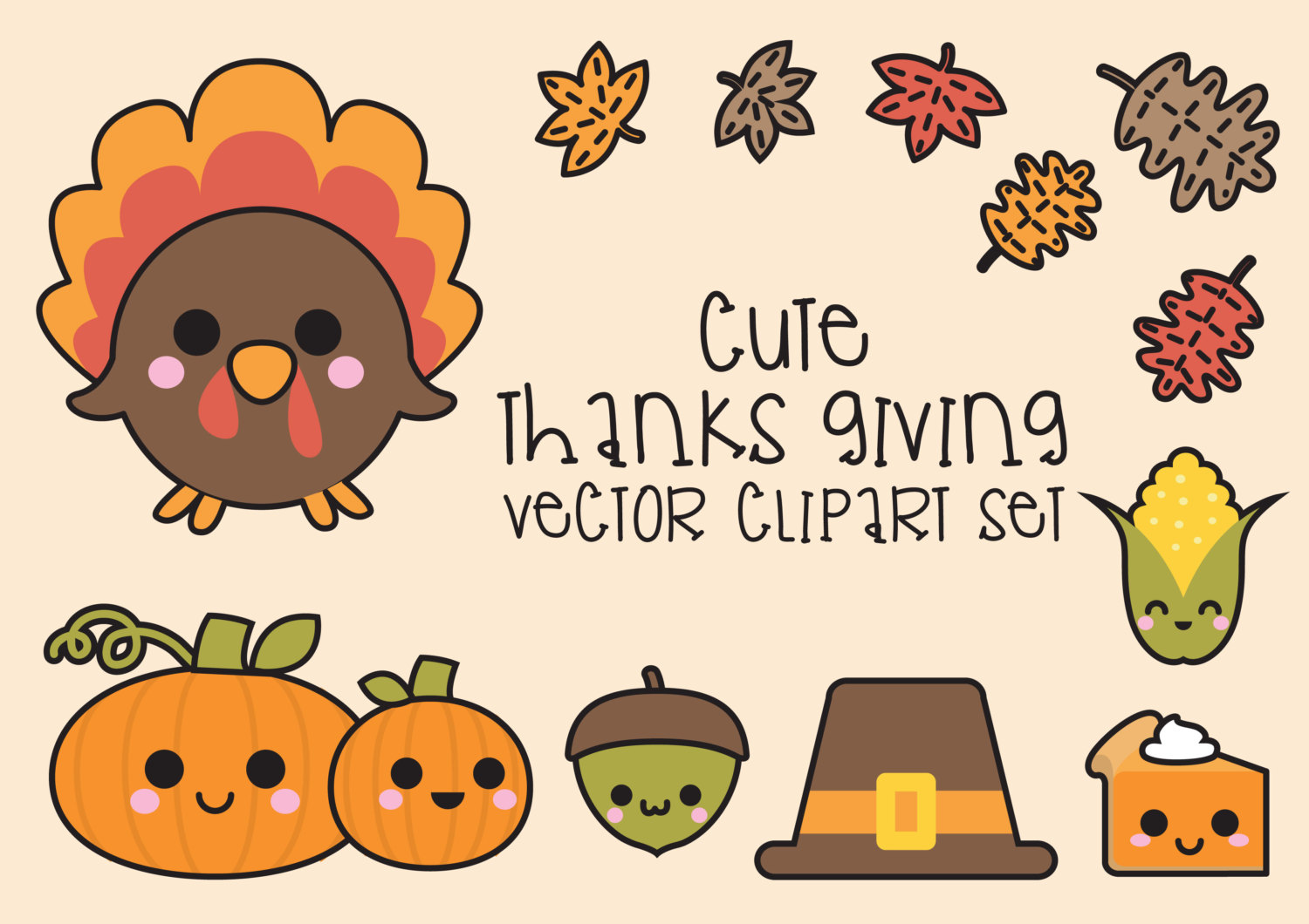 Premium vector kawaii cute. Baby clipart thanksgiving