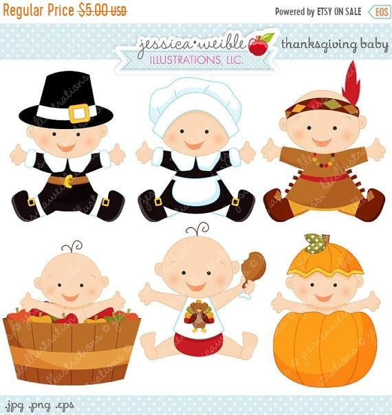 Baby clipart thanksgiving. Sale cute digital commercial