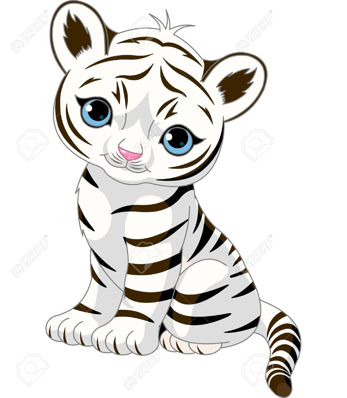 Baby clipart tigers. White tiger drawing at