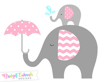 Elephant shower and mommy. Baby clipart umbrella