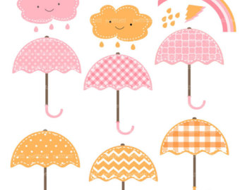 Pink Baby Umbrella Clipart