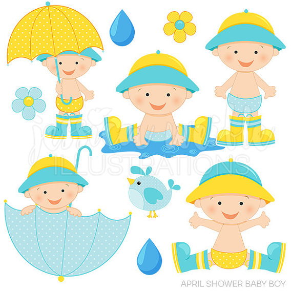 April shower boy cute. Baby clipart umbrella