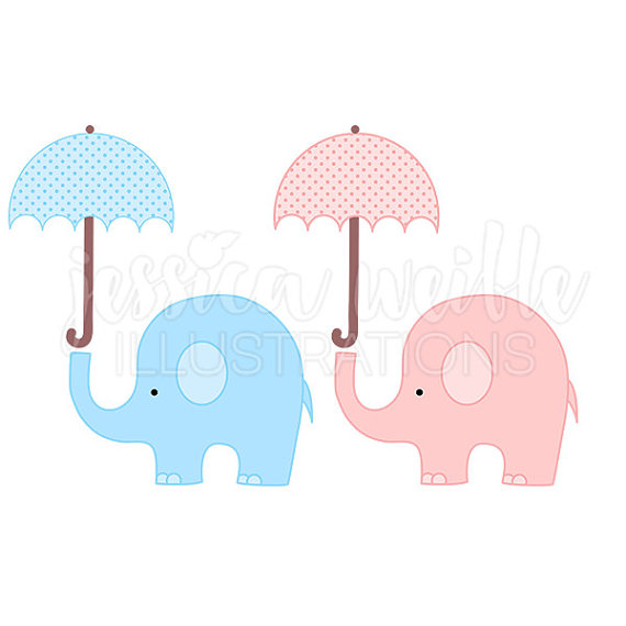 Baby clipart umbrella. Elephant with cute digital