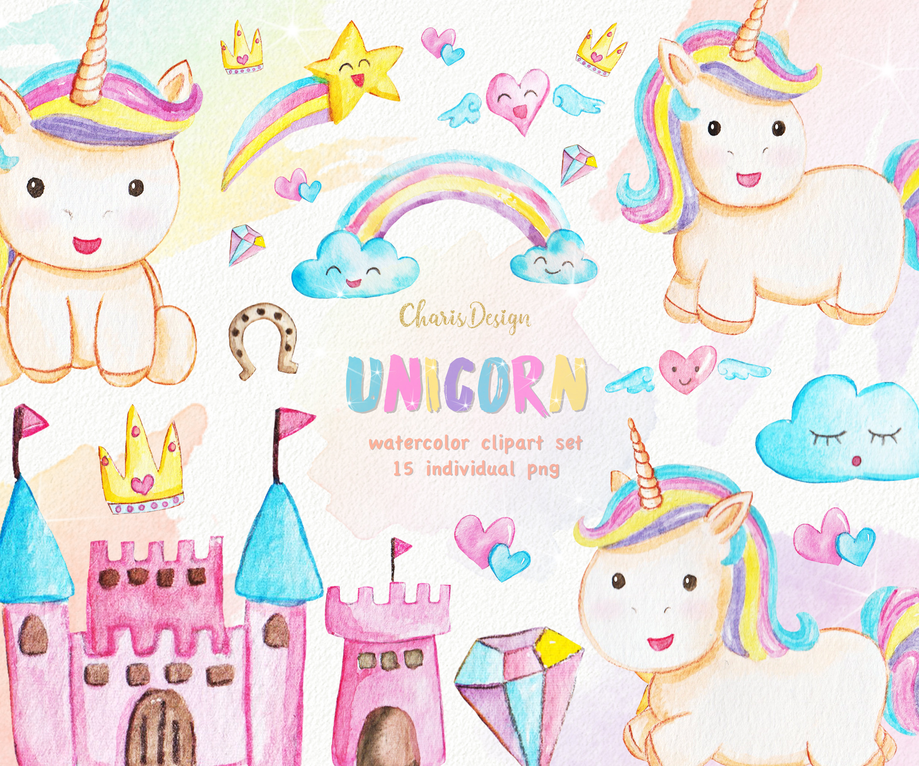Animal illustration watercolor cute. Baby clipart unicorn