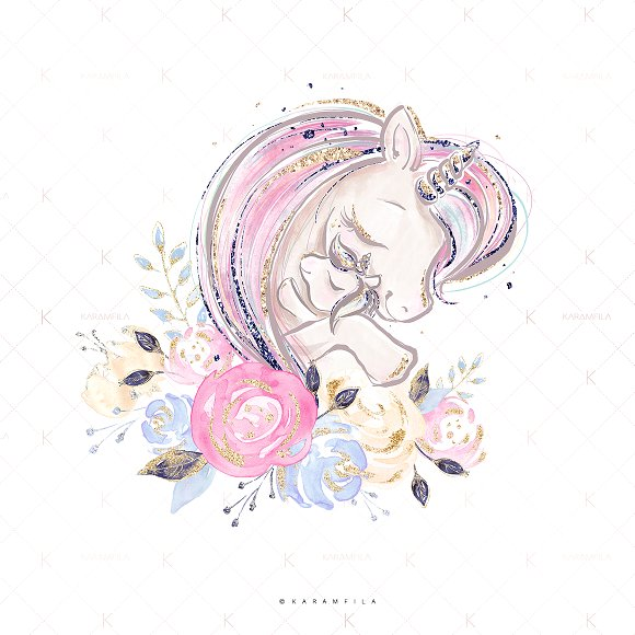 Mother and unicorns illustrations. Baby clipart unicorn