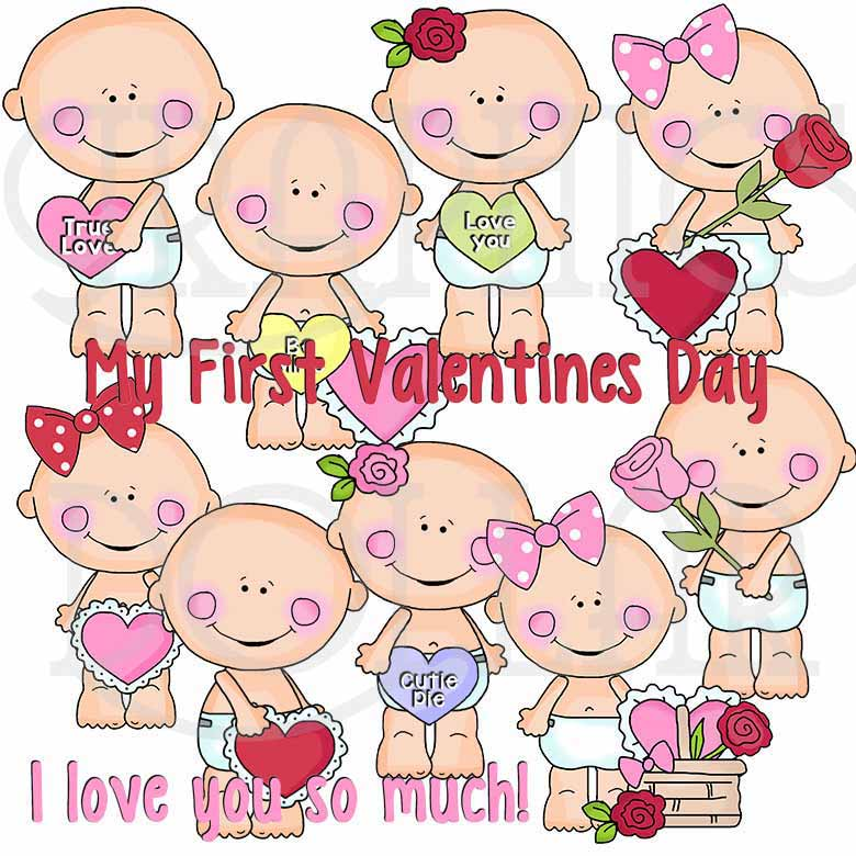 Smiley Baby Valentine Clip Art