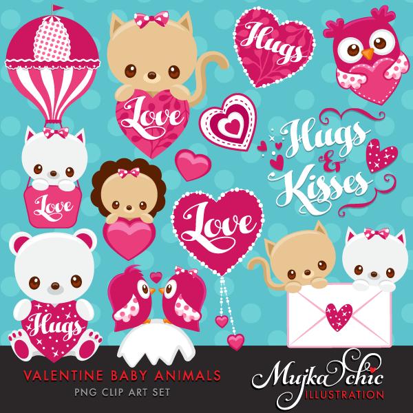 S day cute animals. Baby clipart valentine