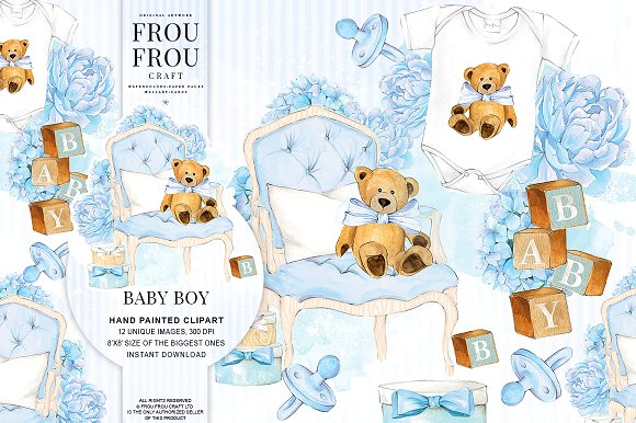 Boy nursery illustrations creative. Baby clipart watercolor