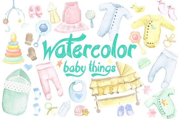 Things set illustrations creative. Baby clipart watercolor