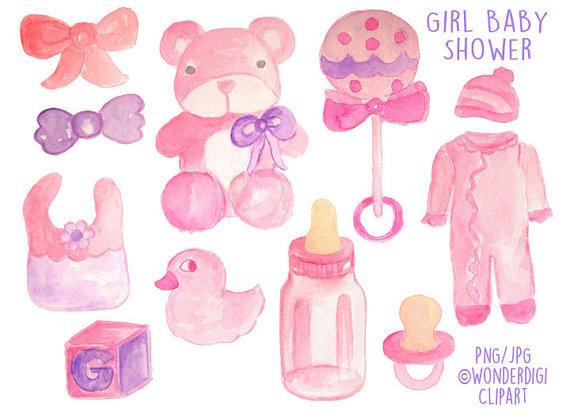 Baby clipart watercolor. Shower clip art