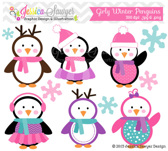 Instant download girly penguin. Baby clipart winter