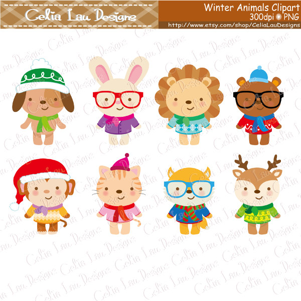 Baby clipart winter. Cute animals hipster clip
