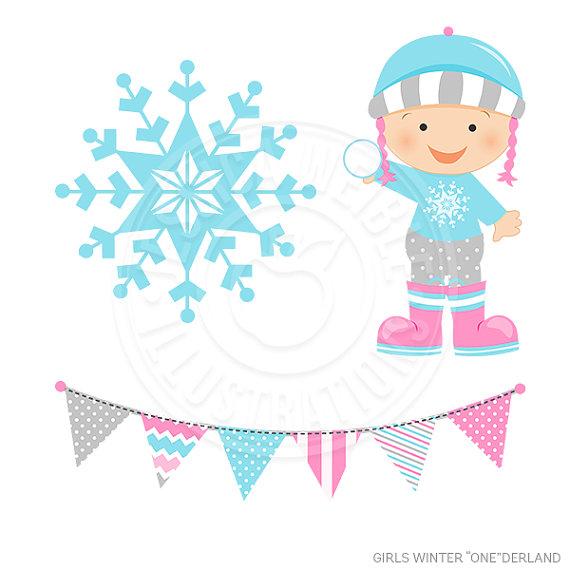 Sale girls onederland digital. Baby clipart winter