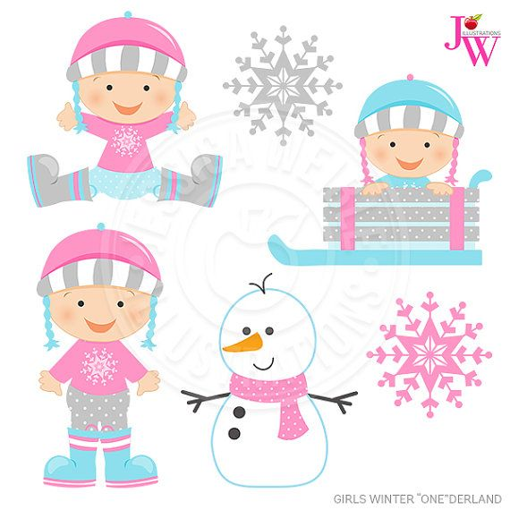 Baby clipart winter. Girls onederland digital commercial