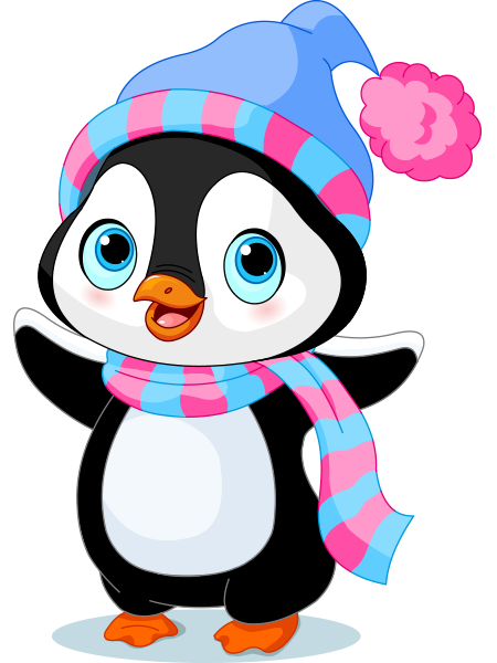 Cheerful penguin penguins and. Baby clipart winter