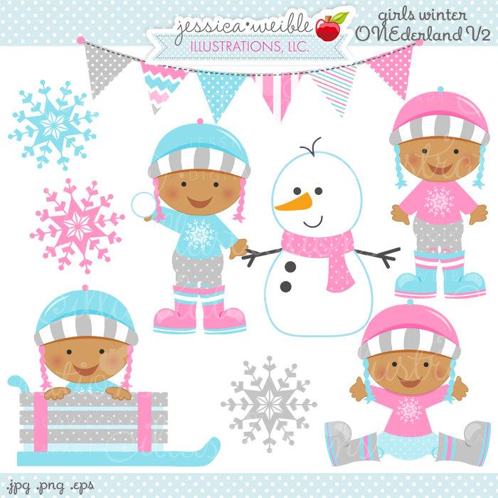 Girls onederland v digital. Baby clipart winter