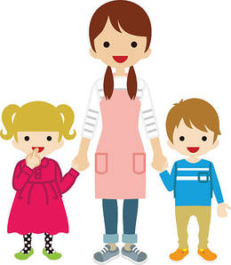 Resolution mother and child. Babysitting clipart cartoon