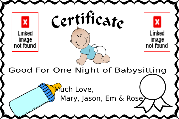 Free online certification incep. Babysitting clipart certified