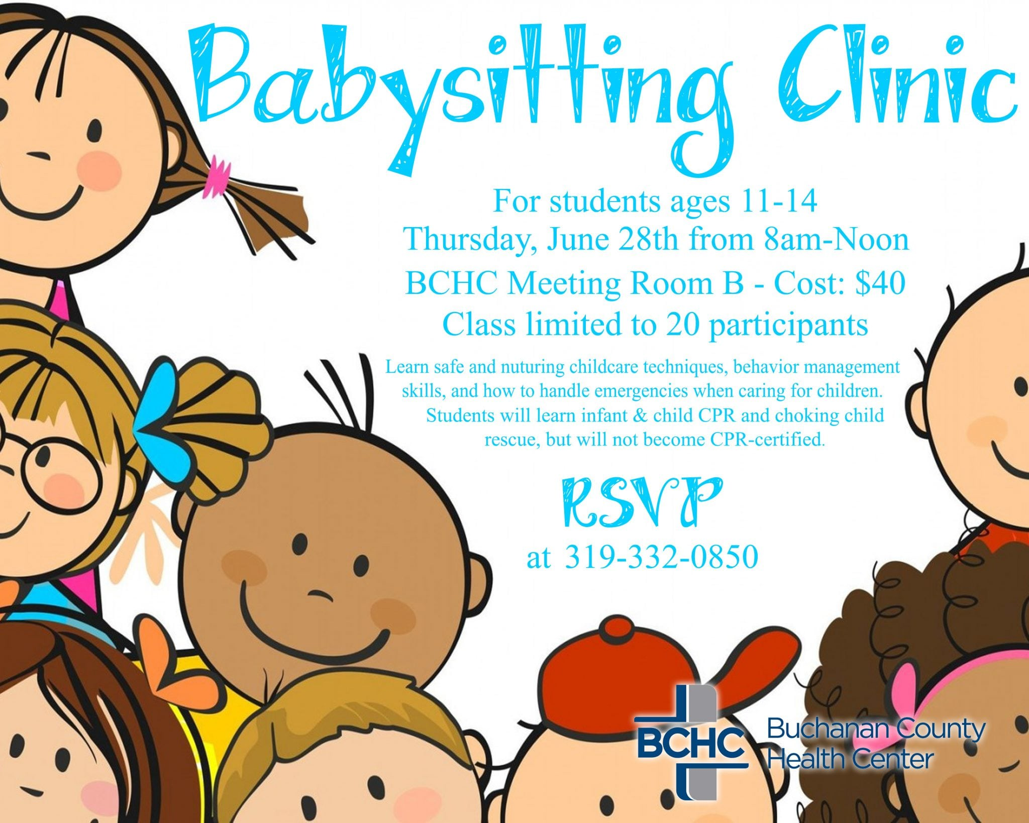 Clinic to be offered. Babysitting clipart certified