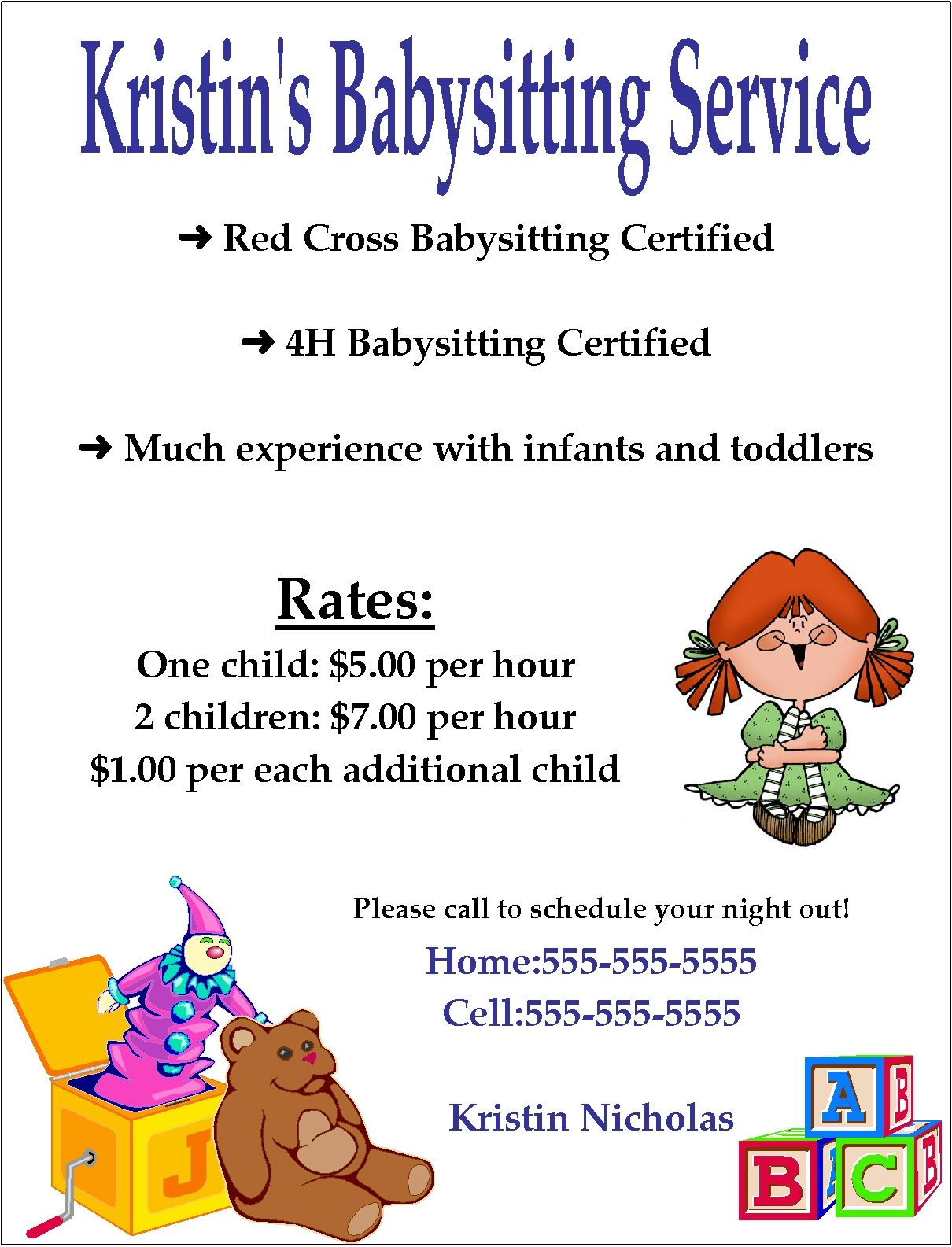 Babysitting clipart certified. Flyer template word google