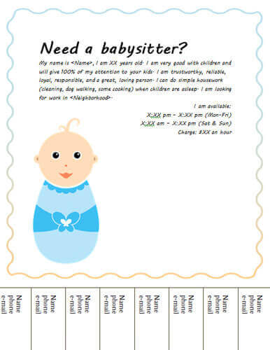 Babysitting clipart cute. Flyers and ideas free