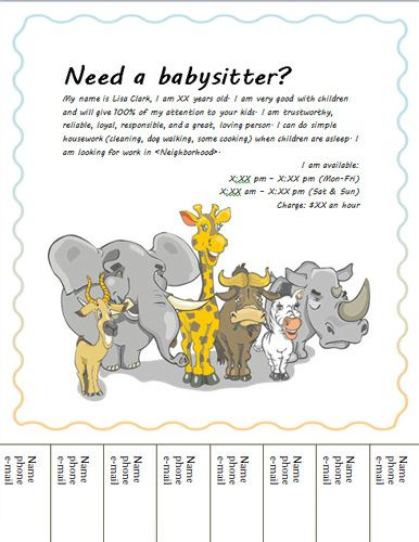 Babysitting clipart leaving house. Flyer with animals templates
