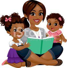 A babysitter nanny reading. Babysitting clipart mom toddler