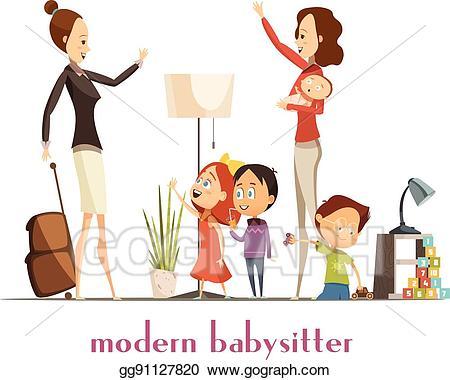 Clip art vector modern. Babysitting clipart mom toddler