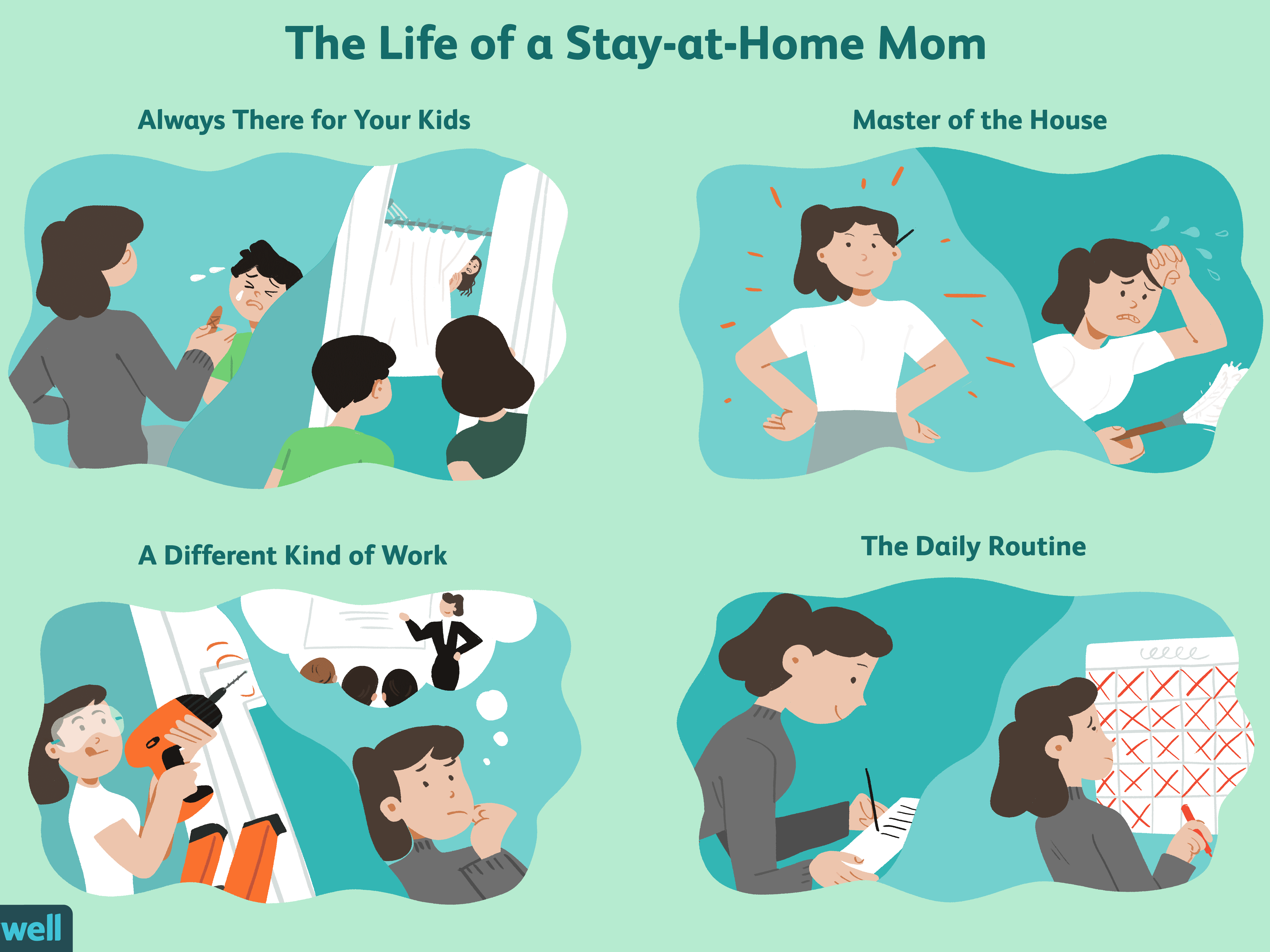 Babysitting clipart mom two kid.  pros and cons