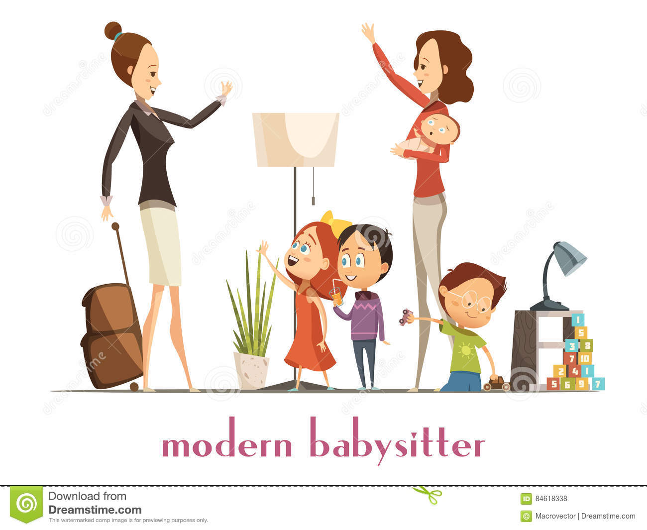 Clever babysitter nanny stock. Babysitting clipart money