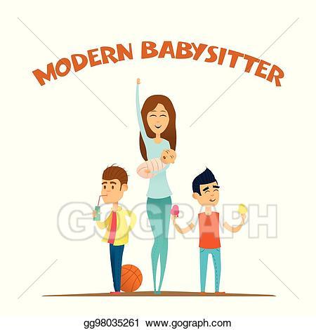 Babysitting clipart money. Eps illustration modern stylish