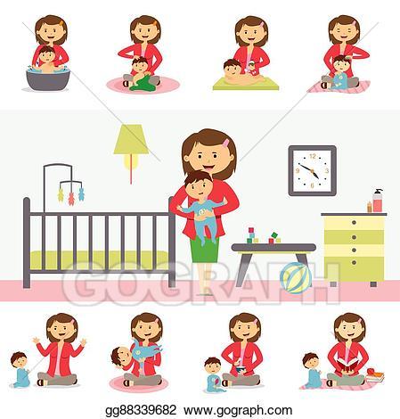 Vector art concept illustration. Babysitting clipart motherhood