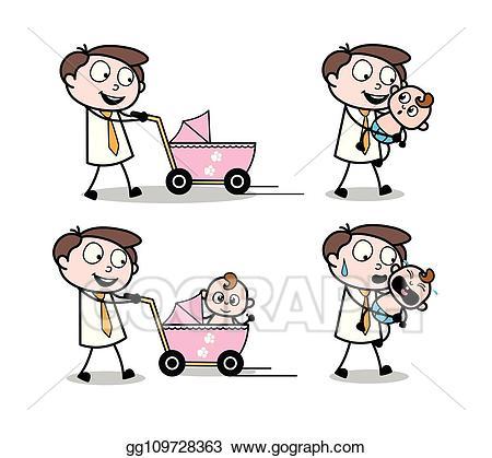Vector stock cartoon businessman. Babysitting clipart professional
