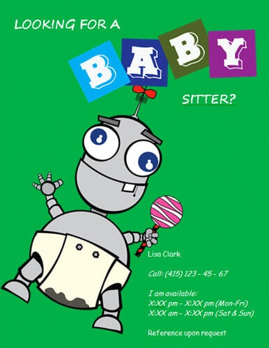 Flyers and ideas free. Babysitting clipart professional