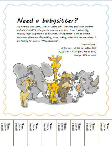 Babysitting clipart professional. Flyers and ideas free
