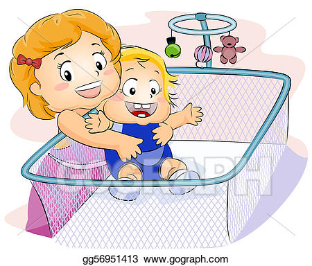 Drawing kid carrying baby. Babysitting clipart sibling
