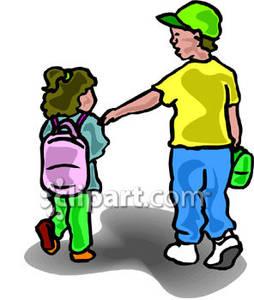 Babysitting clipart sibling. Boy walking his little