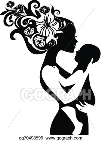 Vector illustration beautiful mother. Babysitting clipart silhouette