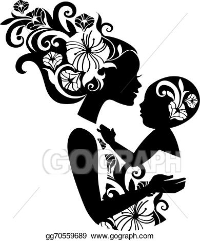 Babysitting clipart silhouette. Vector art beautiful mother
