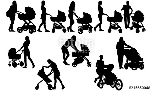 Woman with stroller mother. Babysitting clipart silhouette