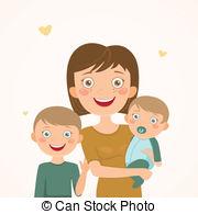Mom family . Babysitting clipart single mother