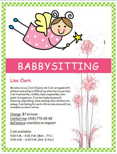 Babysitting clipart summer. Flyers and ideas free
