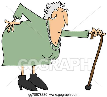 Stock illustration old woman. Back clipart