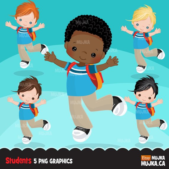 Student to school character. Back clipart back boy