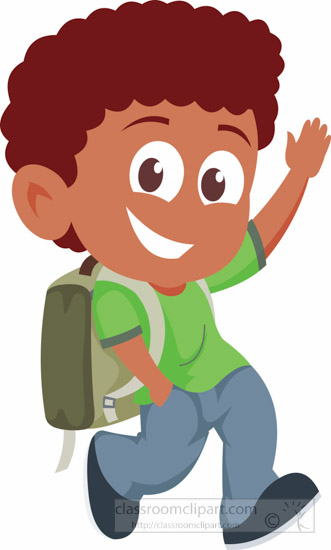 Back clipart back boy. Going to school walking