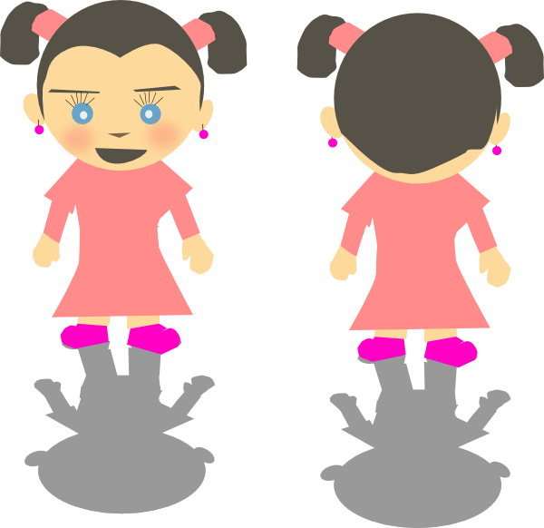 Little kid cartoon clip. Back clipart back girl